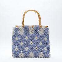 Хлопок веревка тканые сумка Свежий стиль Новая женская сумка цветок бамбуковая ручка синяя сумка сумочка мягкий кошелек