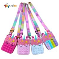 Fidget giocattoli Sensory Moda Borsa Kid Push Bubble Rainbow Anti Stress Educational Bambini e adulti Giocattolo Decompressione FY2915