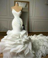 Tiered Ruffles Mermaid Wedding Dresses Pleats Sweetheart Chapel Train Gorgeous Bridal Gowns Nigerian Arabic Marriage Dress Robe D