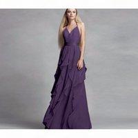 2019 NEW! Chiffon Purple Halter Neckline Bridesmaid Dress with Cascading Skirt VW360326 Wedding Party Dress Evening Dress Formal Dresses