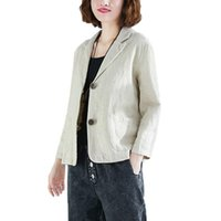 Women's Blazer Summer Autumn Thin Section Single Breasted Cotton Linen Suit Ladies Loose Casual Jackets Tops 2021 Suits & Blazers