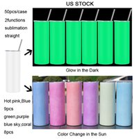 local warehouse 20oz sublimation straight tumbler UV color change tumblers glow in the dark cups stainless steel leakproof blank cup with lid us stock new arrival