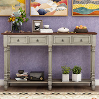Living Room Furniture TREXM Table Sofa Storage Console for Entryway with Drawers and Shelf Rectangular