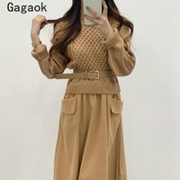 Robes décontractées Gagaok Femmes A-Line Fake Deux Robe 2021 Automne Hiver Sashes Sashes Mid-Col Full Pockets Slim Chci Wild Vestidos