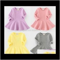 Baby, & Maternity Drop Delivery 2021 Baby Simple Long Sleeves Fall Kids Boutique Clothing 0-4T Little Girls Cotton Solid Color Ruffle Dresses