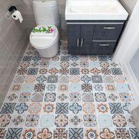 Self-adhesive Floor Wallpaper Bathroom Waterproof Stickers 3d Tiles Bedroom Kitchen Non-slip Wall Wallpapers