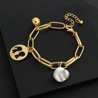 Amorce Gold Color Metal Простая ссылка цепь браслет мяч полые влюбленные подвески нерегулярный жемчуг очарование банкноты для женщин женские ювелирные изделия пара подарки