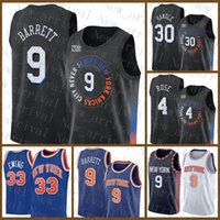 2021 New Basketball Jersey NouveauYorkKnicks Mens RJ 9 Barrett Patrick 33 Ewing Mesh Retro 30 Julius Randle 4 Derrick Rose Pas cher Silver pourpre