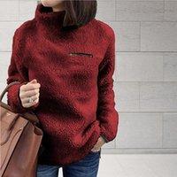 Autumn Turtleneck Long Sleeve Pullover Coats Female Plush Warm Tunic Clothing Plus Size 5XL Fleece Hoodie Sweatshirts For Women Women's Hood