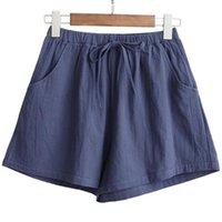 Summer Cotton Linen Shorts Women Flax Trousers Elastic High Wasit Home Loose Casual Breeches Garments Sweatshorts Women's