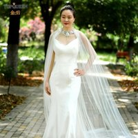 Wraps & Jackets TOPQUEEN G20 Bridal Shawl Summer Bolero For Women Draped Wedding Cape Veil Lace Top Chiffon