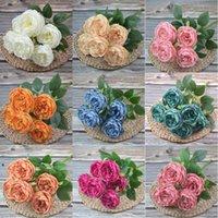 Künstliche Seide Pfingstrose Blumen Blumensträuße 7 Köpfe Kern Spun Peonys Hochzeit Dekoration Weiß Champagne Blau Rosa Nha4651