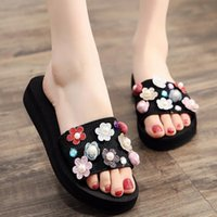Slippers Plus Size Flower Wedges Summer Brand Pearl Crystal Sequins Creepers Muffins Slides Non-slip Beach Women Flipflops 41 42