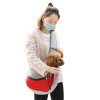 Pet Single Shoulder Bag Mesh Dog Sling Portable Hands Free Carrier Head Out For Puppy And Small Pets Size L(Black) Car Seat Covers