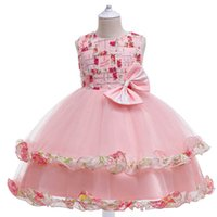 Girls Dresses Kids Clothes Children Clothing Summer Lace Wedding Beauty Princess Flower Pageant Dress Ball Gown B8241