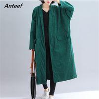 Anteef mais sólido sólido vintage ponto aberto mulheres solta solta longo outono inverno feminino trench casaco roupas 210517