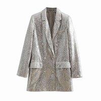 Women Geometric Pattern Sequined Blazer Feminino Shining Pockets Long Sleeve Outerwear Vintage Female Casual Tops 210929