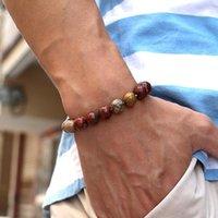 Beaded, Strands Natural Picasso Stone Bracelet Minimalist 4 6 8 10 12mm Beads Strand Braclet Men Women Yoga Meditation Jewelry Accessories G
