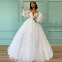 Off Shoulder Long Sleeves Ball Gown Wedding Dresses with Appliques Sweep Train Lace-up Back Tulle Plus Size Bridal Gowns