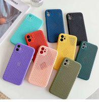 Rozpraszający na ciepło Oddychająca skóra Mesh Soft TPU TPU Case Pokrywa dla iPhone'a 12 Mini 11 Pro Max 6 7 8 plus xr x xs 100 sztuk / partia