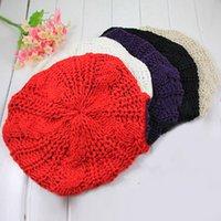 Autunno inverno a maglia berretto femminile giapponese sorella sorella morbida carino cappelli britannici pittore dolci tappi di colore nero nero rosso nuovo