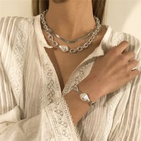 Baroque Imitation Pearl Necklace Bracelet European Double Layer Retro Snake Chain Women Punk Gold Thick Necklaces Jewelry Sets Accessories Wholesale