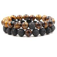 2pcs set 10mm Natural Lava Stone Strands Beaded Bracelets Adjustable Charm For Women Men Lover Yoga Jewelry