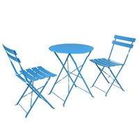 Premium Steel Patio Bistro набор, 3 шт. Складной открытый патио набор из 2 стульев и 1 стол, синий