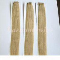 50g 20 stücke Klebeband in Haarverlängerungen Kleber Haut schuss 18 20 22 24 zoll # 60 platin blonde brasilianische indische remy menschliche haare harmonie