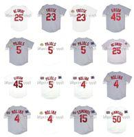 Vintage 2006 2011 St. Louis Beyzbol Forması 5 Albert Pujols Mark 25 McGWire 15 Jim Edmonds 4 Yadier Molina 50 Adam Wainwright 45 Bob Gibson 23 David Freese Formalar