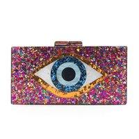 Dame Kette Schulter Crossbody Handtasche Acryl Evil Eye Geldbörse Frauen Box Abendtaschen und Kupplungen