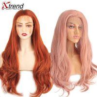 Xtrend 합성 레이스 프론트 Pruik 긴 핑크 구리 빨간 쌍 오렌지 그늘 회색 금발 화이트 가발 여성의 머리카락 여성의 머리카락