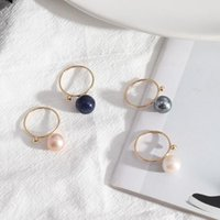 Round White Blue Pink Ball Rings Fashion Inner Dia 1.7cm Brincos Pendientes Jewelry for Women Circle Ring