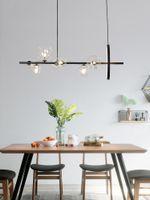 Chandeliers LED Modern Minimalist Luxury Hanging Lamp Restaurant Dining Room Bar Chandelier Lighting Creative Glass Bubble Black