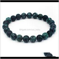 Bracelets Jewelryfashion Handmade Natural Stone African Turquoises Beads Bracelet Men Yoga Mala Jewelry Green Moss Beaded For Women Beaded, S