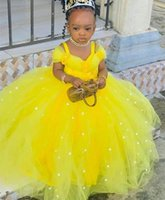 2021 Yellow Pearls Flower Girl Dresses Ball Gown Spaghetti Hand Made Flowers Lilttle Kids Birthday Pageant Weddding Gowns ZJ671