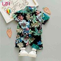 LZH Summer Nouveau-né Baby Girl Vêtements Cardigan Cardigan Cardigan Shorts 2pcs Ensembles Casual Enfants Costumes Print Baby Boys Costumes 210426