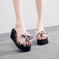Muqgew 새로운 패션 진주 샌들 웨지 슬라이드 홈 욕실 해변 플립 플롭 신발 해변 슬리퍼 여름 신발 여성 샌들 O3u3 #