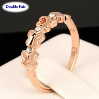Cluster Rings Small Cute Butterfly Ring For Women Rose Gold Color Anniversary Gift Fashion Crystal Jewelry Korean Finger Accessories DWR325