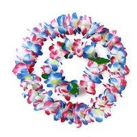 Decorative Flowers & Wreaths Hawaiian Hula Flower Garland Set 4pcs Lei Luau Fancy Dress Beach Part Necklace Headband Bracelet Wristband