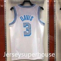 Quick Seco 2021 Cidade Versão Branco Heat Press Basketball Jersey 3 Davis Kuzma Sem Manga Colete Camisas O-pescoço Design Tamanho S-2XL