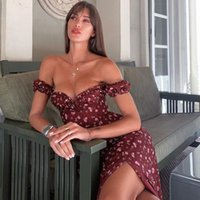 Casual Dresses Summer Dress Vestidos 2021 Floral Printed Off The Shoulder Bodycon Clubwear House Of Cb Midi Sexy Party Women