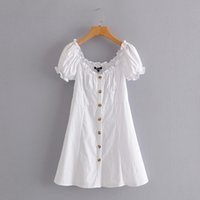 vintage stylish summer white mini dress women button french solid casual dresses vestidos 210510
