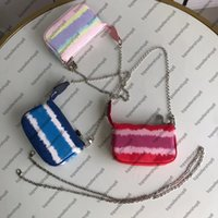 Escale Pochette Accessoires M69269 Monedero Mini Mini Diseñador Embrague Hobos Bag con cadena de plata New Tie Dye Gigante Serie Bolsas pequeñas
