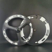 HED 700C عجلات الكربون الجبهة TRI-تكلم العجلات الخلفية المسار / الطريق دراجة العجلات الفاصلة / أن أنبوبي 3-تكلم وأغلقت مع الانتهاء من الوفاة
