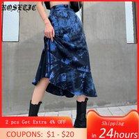 Rosetische neue gotische blaue Krawatte Dye Rock Frauen Rüschen Design Cool Streetwear Eine Linie Hohe Taille Röcke Herbst Goth Halloween