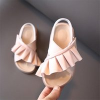 Sandals 2021 Summer Children's Leather Ruffles Toddler Kids Shoes Cute Baby Soft Fashion Princess Girls 21-30