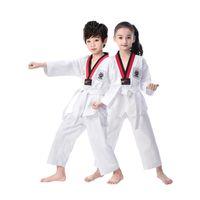 Tradicional Branco Taekwondo Uniformen Crianças Adulto Terno Karate ROUPAS DE MANGA Curta E Longa Fitness