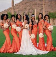 2021 off spalla sirena abiti da damigella d'onore damigella d'onore africane lungo abito da sposa arancione abito da sposa personalizzare Robe de Soiree de Mariage