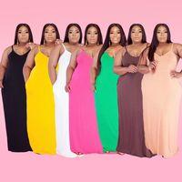 XL-5XL Plus Size Spaghetti Strap Bodenlangen Kleid Sommer Kleidung Für Frauen Büro Dame Solide Spaltung Backless Oversize Kleid